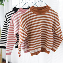 Funfeliz Ribbed Sweater Kids Striped Sweaters for Boys 2018 Autumn Winter Sweter Baby Girls Children Pullover Casual Cardigan цены онлайн