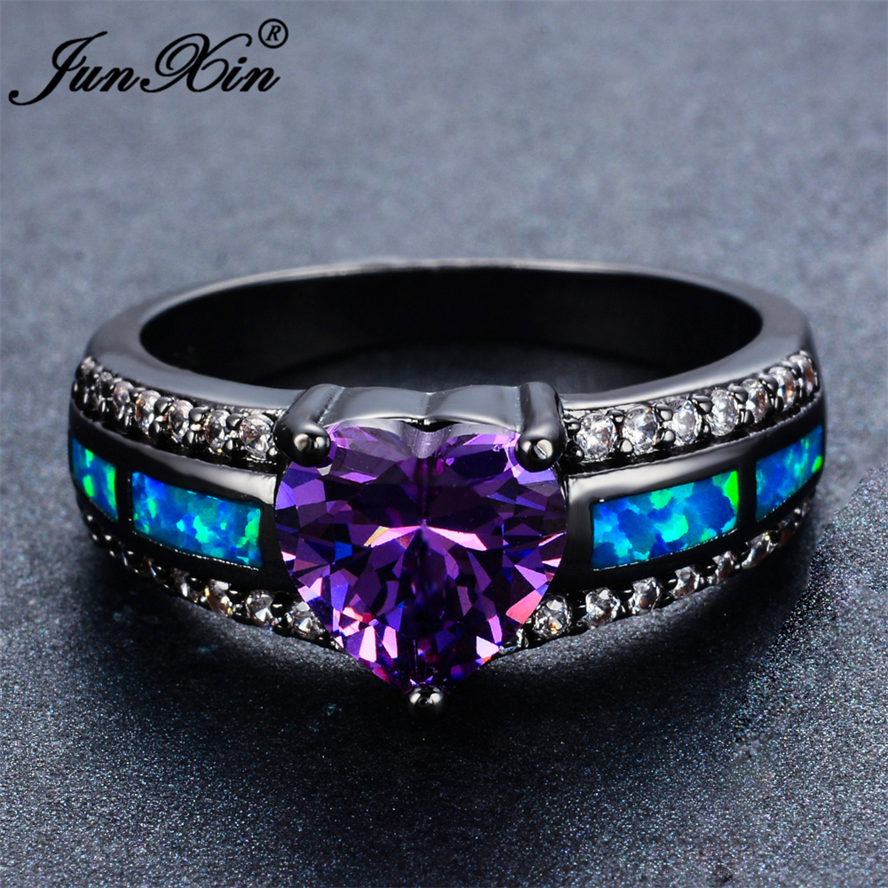 and heart wedding cz titanium her engagement his pin purple simulated moissanite black rings couples camo