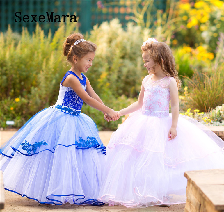 Gorgeous Royal Blue Glitz Pageant Dresses Mother Daughter Gowns Flower Girl Dresses For Wedding Kids Evening Dress Custom Made custom champagne beaded a line flower girl dresses beautiful mother and daughter glitz gowns for wedding pageant party occasion