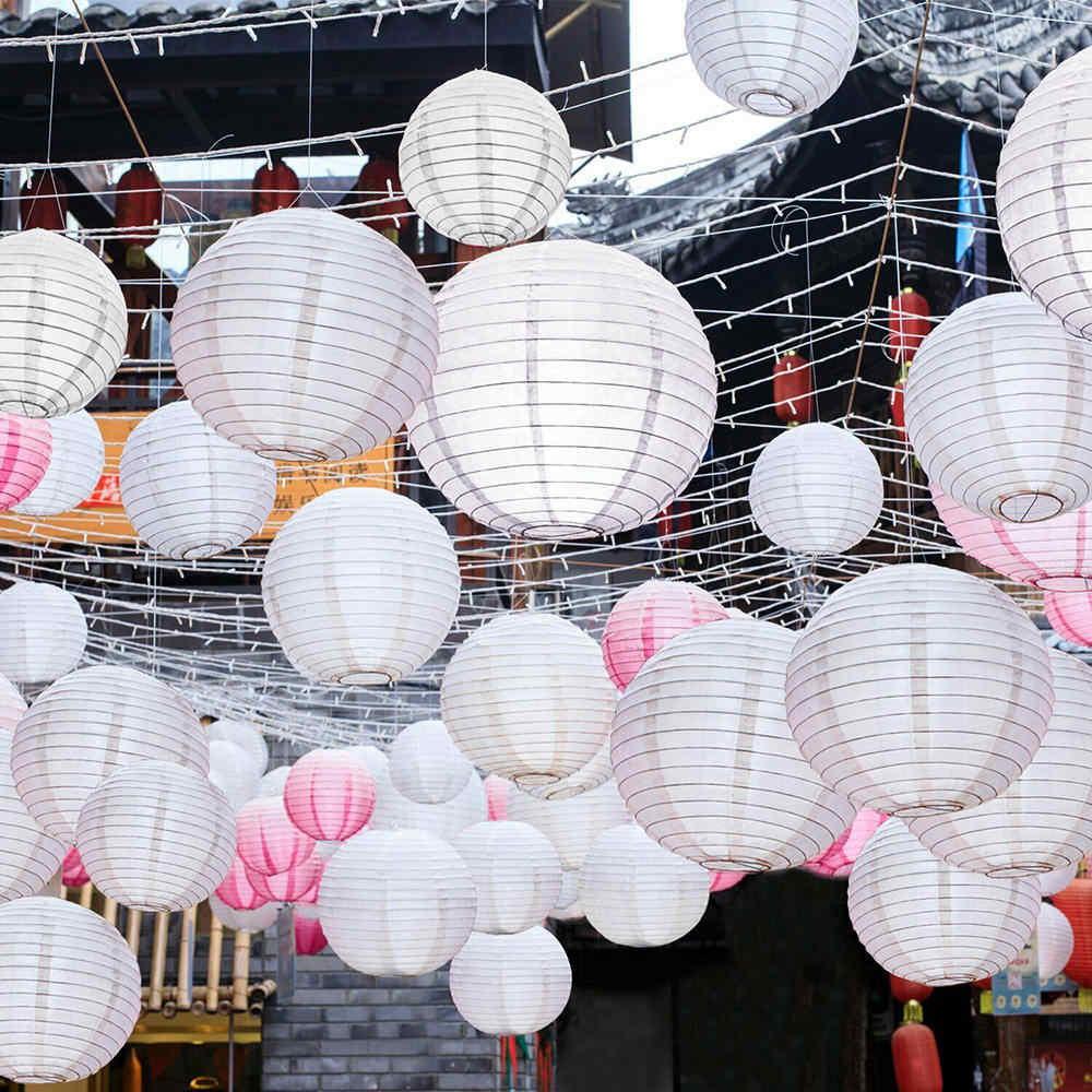10 pcs White Chinese Paper Lanterns Round Paper Lampion Wedding Babyshower Party Lanterns Decor 10/15/20/25/30/35/40cm