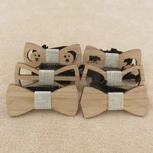 Детский галстук-бабочка для мальчиков, бамбуковые деревянные Галстуки Для Свадьба, предварительно вечерние галстуки, детские галстуки-бабочки
