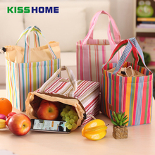 лучшая цена Portable Lunch Bag 2018 Stripe Cooler Oxford Bag Thermal Insulation Bags Travel Picnic Food Lunch box bag for Women Girls Kids