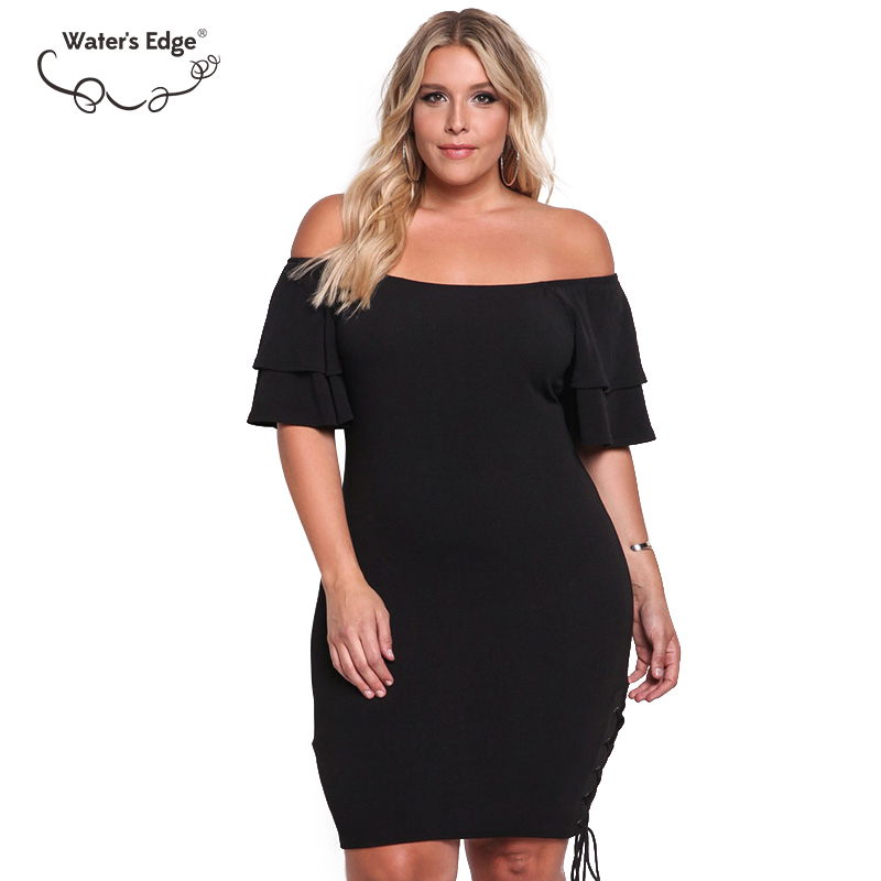 Off the Shoulder Flare Sleeve Sexy Plus Size Women Short Dress Trendy 2018 Party Female Mini Dresses Office Lady Large Vestidos
