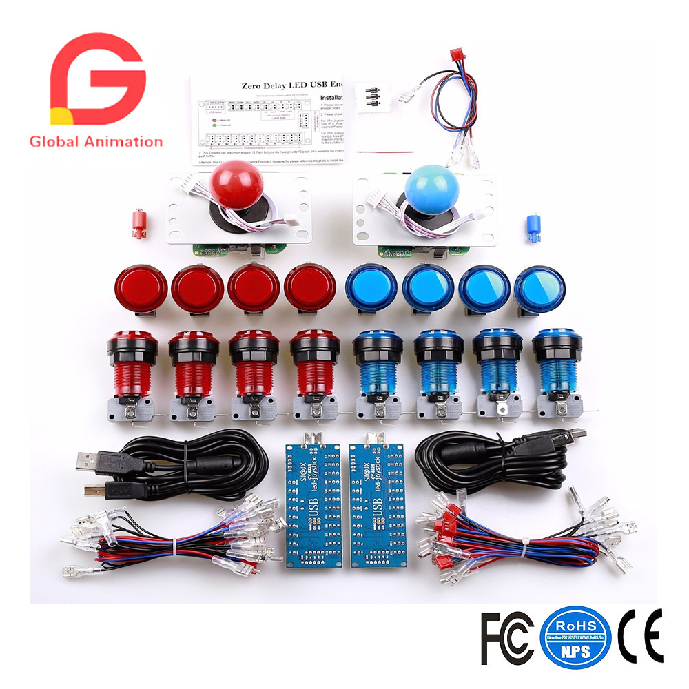 LED Arcade DIY Parts 2x Zero Delay+2x 5pin 8 Way Joystick+2x Zero Delay USB Encoder 16 X-ring fixed LED Illuminated push buttonLED Arcade DIY Parts 2x Zero Delay+2x 5pin 8 Way Joystick+2x Zero Delay USB Encoder 16 X-ring fixed LED Illuminated push button