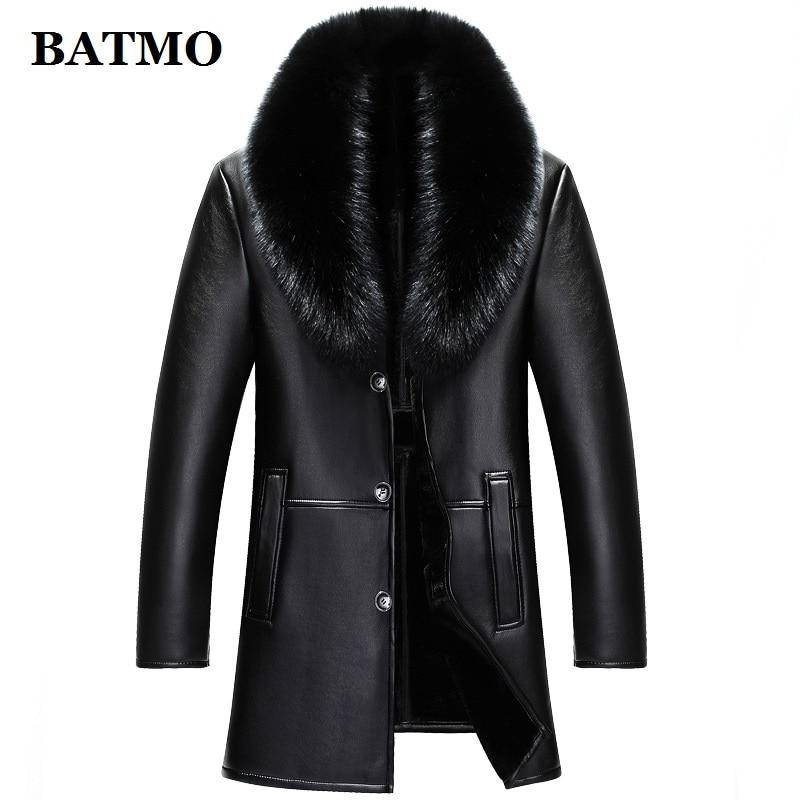 BATMO 2019 new arrival winter high quality real leather fox fur collars trench coat men ,men's winter Wool Liner parkas AL18