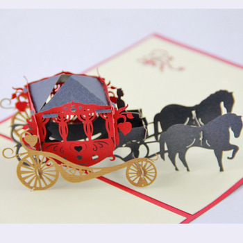 Cube living 3D luxury carriage stereo card retro carriage card