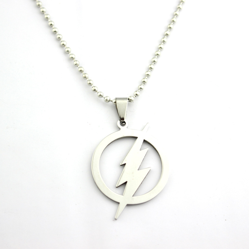 The Flash SUPER HERO Flash Lightning Logo Stainless Steel Chain Necklaces Pendants Men Women Gift Action Figure Cosplay Toys