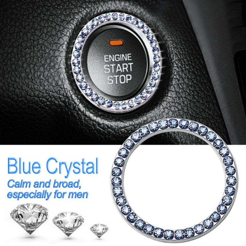 "HTB1w35Yq8yWBuNkSmFPq6xguVXal 40mm/1.57"" Auto Car Bling Decorative Accessories Automobiles Start Switch Button Decorative Diamond Rhinestone Ring Circle Trim"