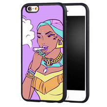 Funny PRINCESS SMOKING Printed Soft Rubber Skin Mobile Phone Cases Bags For iPhone 6 6S Plus SE 5 5S 5C 4 4S Back Shell Cover