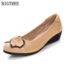 Spring new bow women fashion shoes mothers soft work comfortable shoes women's large size casual flat shoes 35 36 39 40 41 42 43