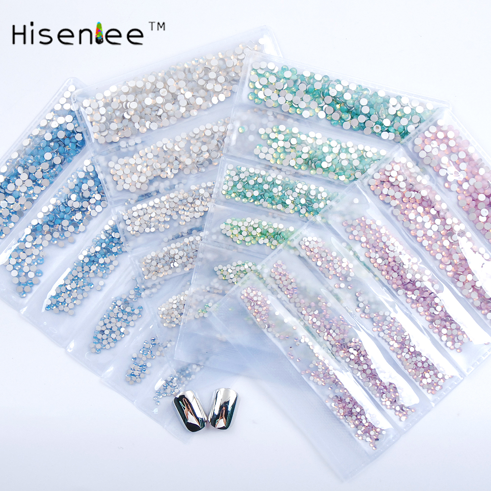 Hisenlee ss3-ss10 6sizes White Blue Pink Green Opal Nail Art Rhinestones Bottom Manicure 3D Nail Art Decoration Gems blueness 10pcs new 2017 pearl nail bow 3d metal alloy nail art decoration charms studs nails rhinestones 3d nail supplies tn076