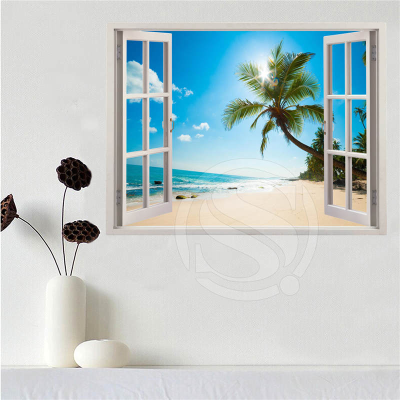 Custom canvas poster Beach of the Caribbean in the window poster cloth fabric wall poster print Silk Fabric Print SQ0611-LQ012