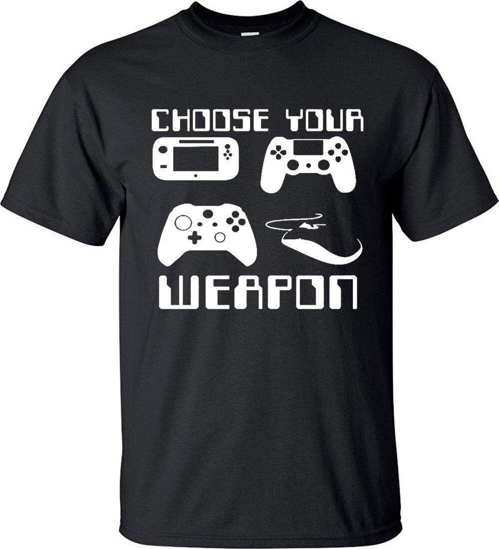 Cotton T Shirt Fashion Free Shipping Crew Neck Men Short-Sleeve Choose Your Weapon Gaming Console Gamer  Premium Tee Shirts