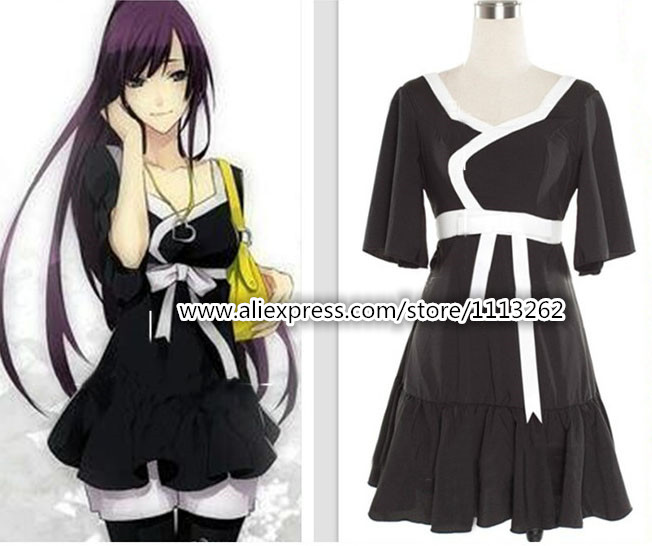Anime Bakemonogatari Senjougahara Hitagi Black Costume Cosplay Dress