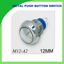 12mm metal switch waterproof nickel plated brass push button switch 1NO momentary reset round head