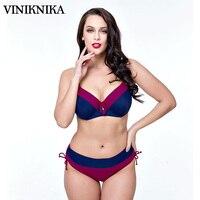 VINIKNIKA 2017 Plus fat to increase the size of printing large cups split high waist swimwear bikini Sexy Beach Swimsuit beach