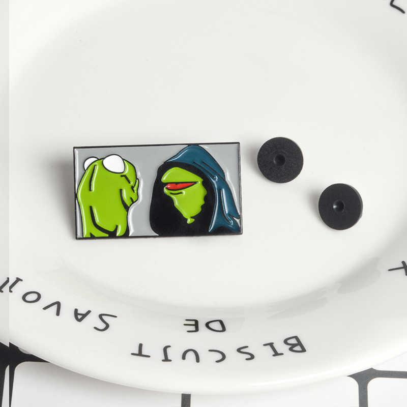 Kermit Ếch Pins Ác Kermit The Frog Memes Trâm Cài Ếch Ve Áo Pins Phù Hiệu Trâm Cài cho Nam Giới Phụ Nữ Phụ Kiện Men Chân