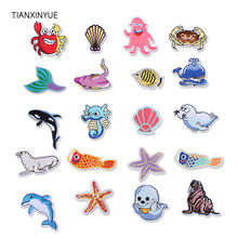 TIANXINYUE marine animal Patches Iron On DIY Embroidered Appliques Sew Stickers For Clothing fabric Bags