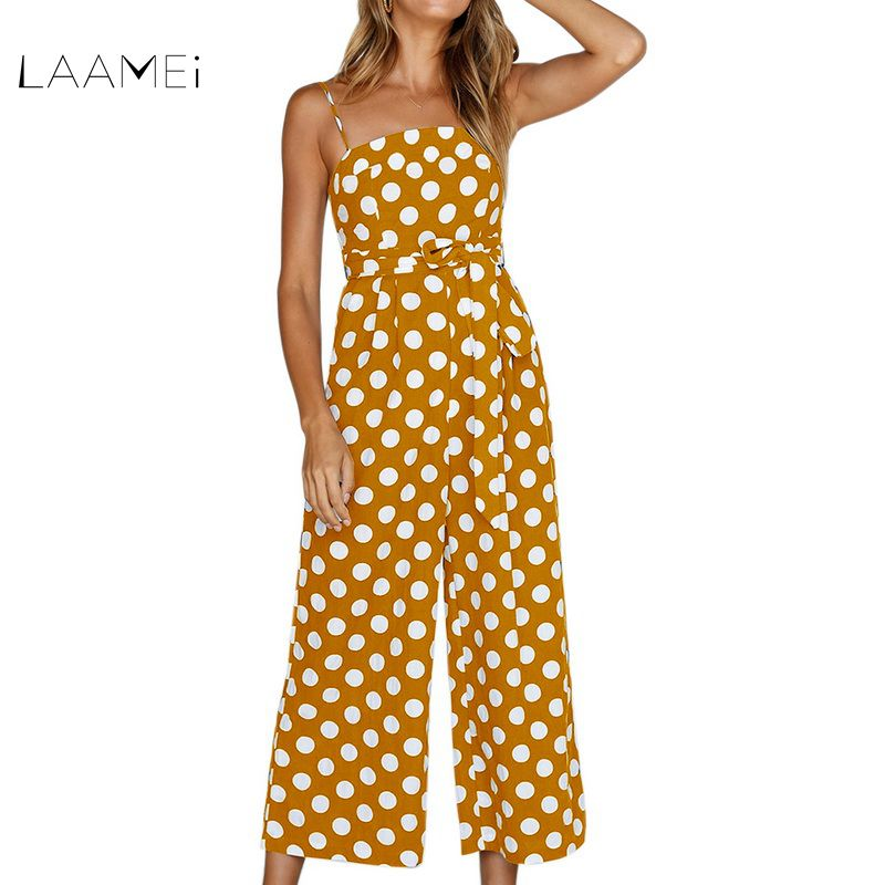 Laamei Print Dot Camisole Jumpsuit Women Rompers New Summer Woven Strapless Belted Wide Leg Pants Jumpsuit Casual Overalls Femme