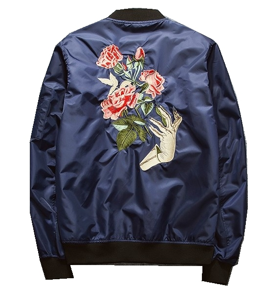 Japanese Style High Street Fashion Retro Badge Bomber Jacket Men Autumn Tide Brand Casual Men's Rose Embroidery Jacket #A-65