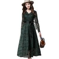 Women Autumn Lace Hollow Lace Up Dress Fashion Vintage Gothics Elegant A Line Dresses W591
