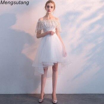 цена на Robe de soiree 2020 New White lace up off the shoulder vestido de festa evening dress Short Front Long Back Party Prom dresses
