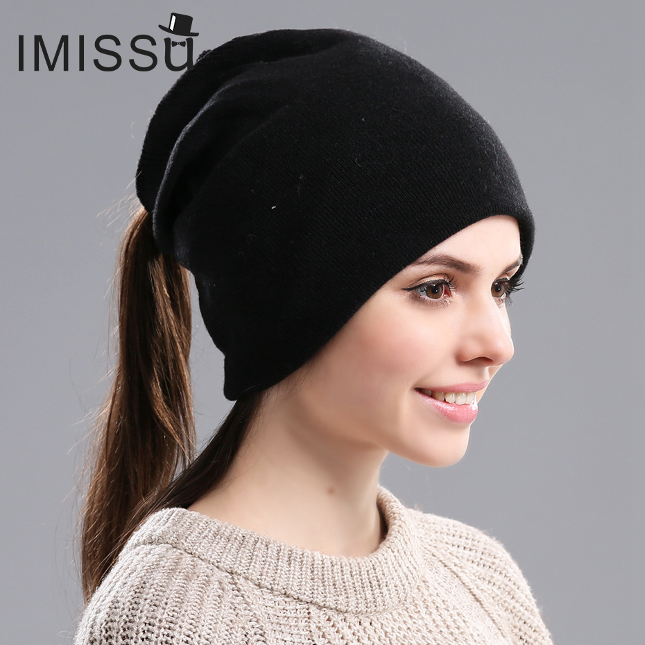 IMISSU High-end Women's Knitted Wool Skullies Autumn&Winter Beanie Hats Casual Cap Ski Gorros Bonnet Cute Femme Hats for Women skullies