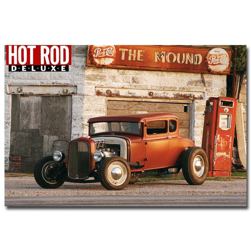 Nicoleshenting hot rod muscle car art silk fabric poster for Living room 12x18