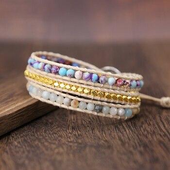 Bohemia Vintage Unique Natural Stone turquoises Charm 3Strands Wrap Bracelets Handmade 2
