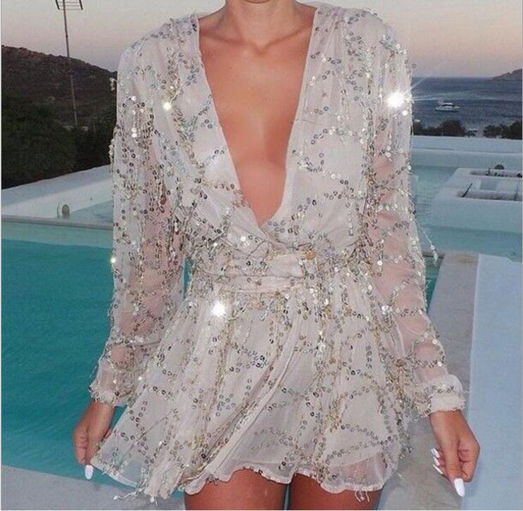 Sexy Summer Womens Rompers 2016 Elegant Club Jumpsuits Sequins Combinaison Short Playsuits Femme Black Overalls