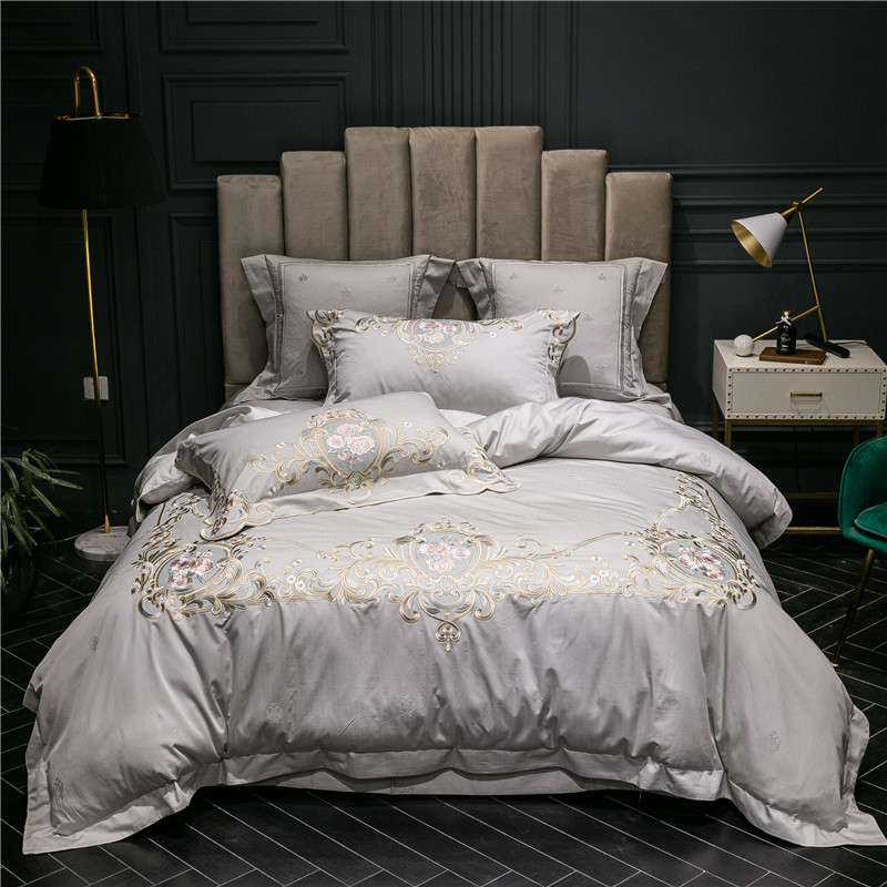 New Gray Blue Pink Luxury 100S Egyptian Cotton Bedding Set Gold Royal Embroidery Duvet Cover Bed sheet Linen Pillowcases