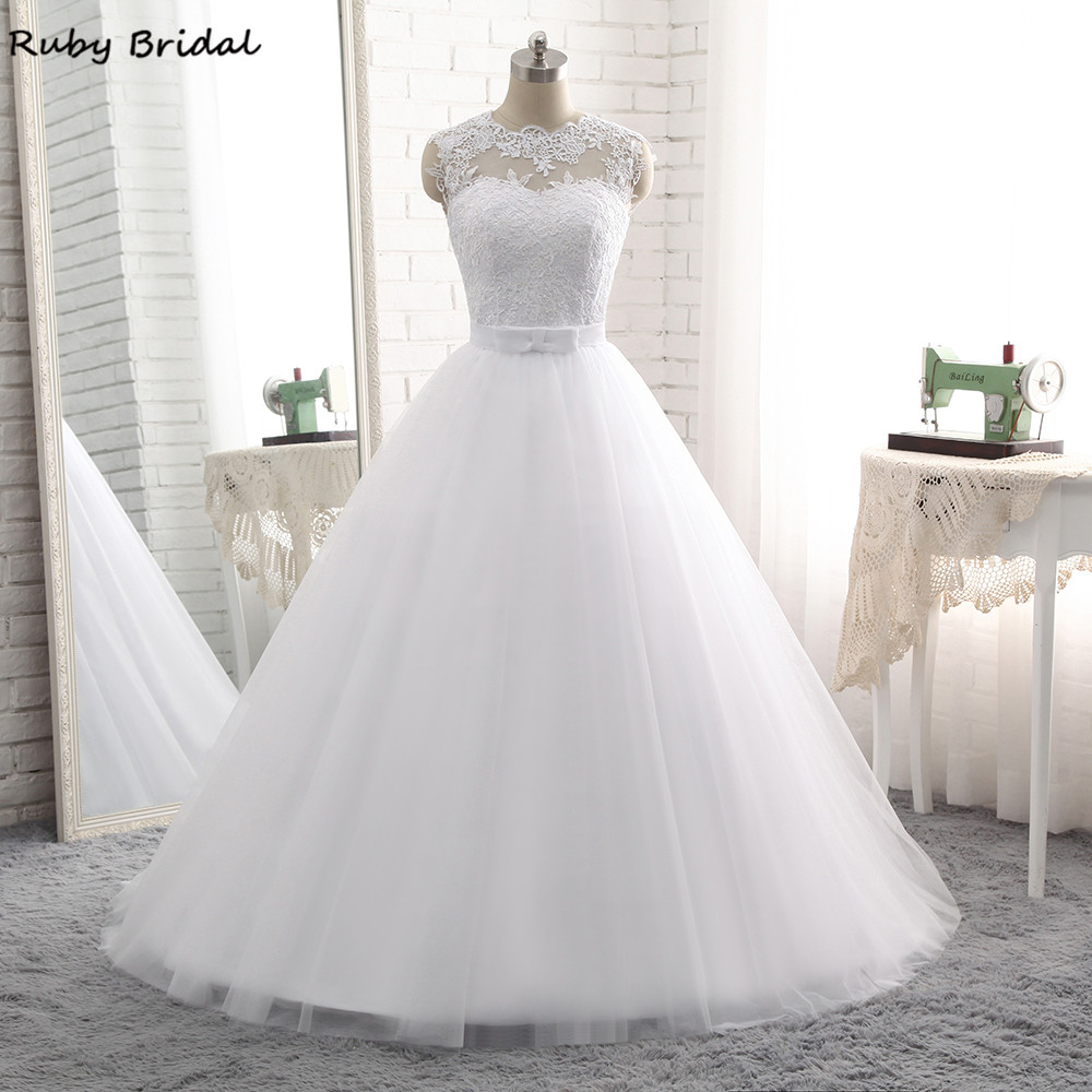 Ruby Bridal Elegant  Vestido De Noiva Long Ball Gown Wedding Dresses Cheap White Tulle Appliques Belt Lace-Up Bridal Gown PW68