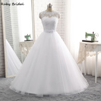 Ruby Bridal Elegant Vestido De Noiva Long Ball Gown Wedding Dresses Cheap White Tulle Appliques Belt Lace Up Bridal Gown PW68