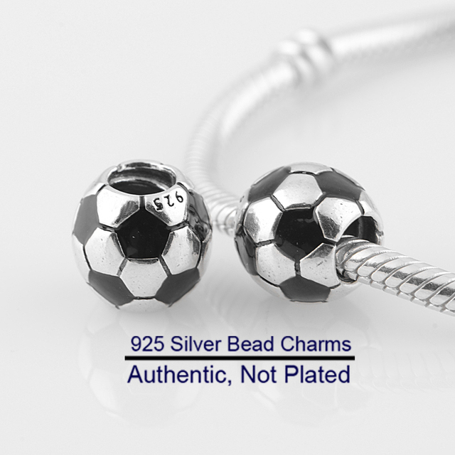 Fits For Pandora Bracelets Football Charms 100% 925 Sterling Silver Beads Free Shipping