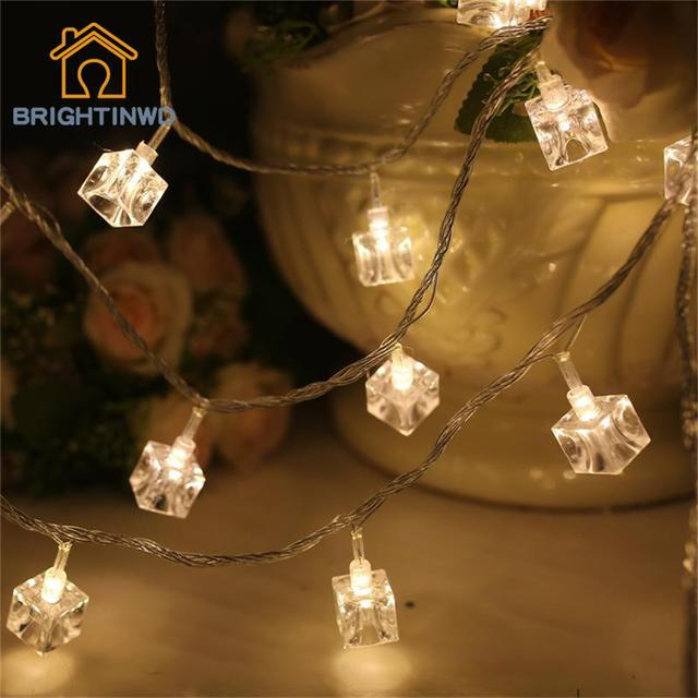 Enchufe de LA UE 10 M 100 LED de Navidad Luces de Barra de Luz Decoración de La Noche Decoración de Pequeños Cubos De Hielo LED Luces de Cadena