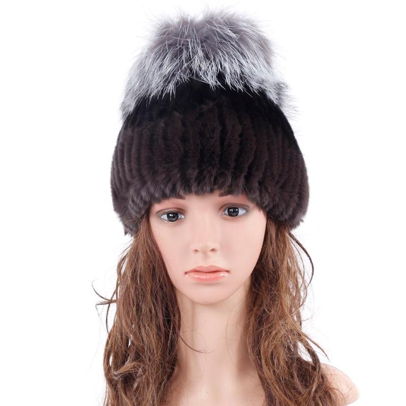 Rusia sombreros para las mujeres genuino sombrero de piel de conejo con piel de zorro rojo tapa de Lana De Tejer Gorros Tejidos Elásticos Femeninos