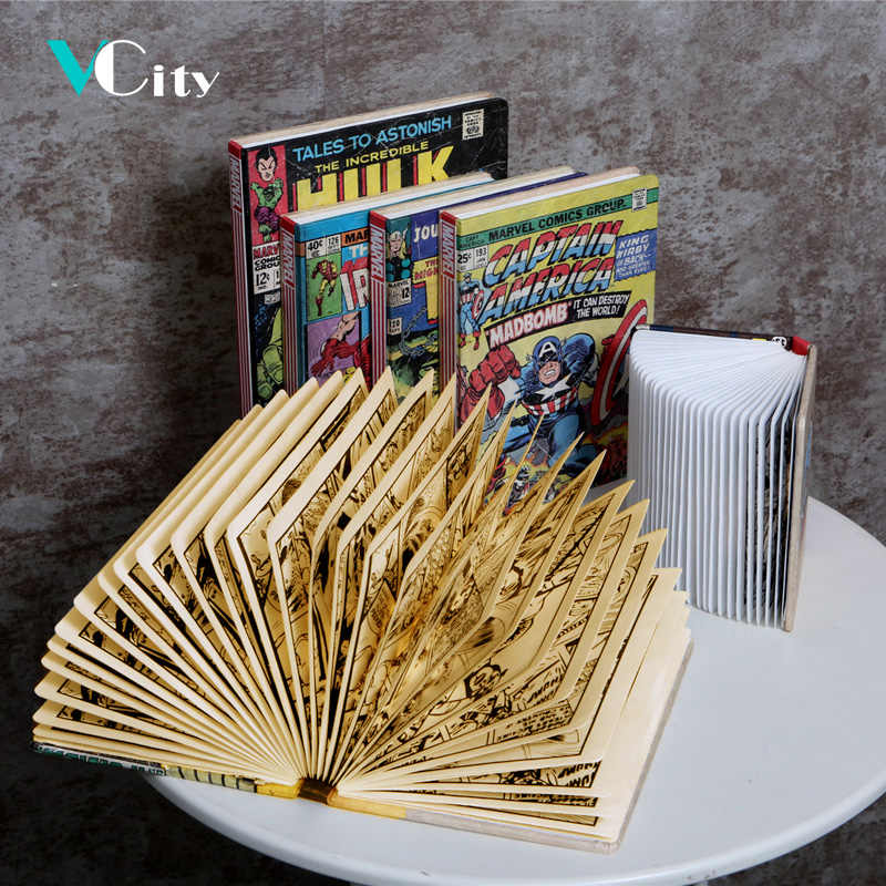 VCity Book Light Iron Man Captain America Spiderman Antman Hulk Assemble Collection Led Lighting Lamp Best Gifts For Movie Fans