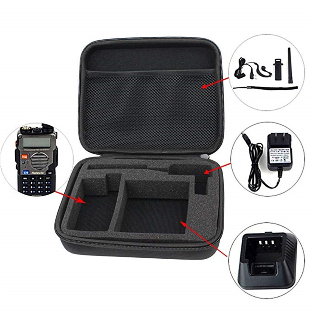 Shop For Cheap Portable Radio Case Walkie Talkie Hand Bag For Baofeng Uv-5 Launched Hunting Case Black And Camouflage Durable Modeling