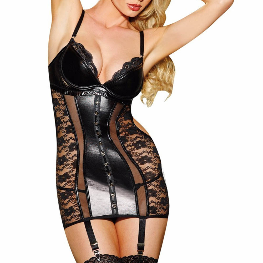 Sexy Leather Corset Dress Wetlook Vinyl Women Lingerie Seduce Exotic Underwear Black Lace Bustiers For Women Overbust Corset