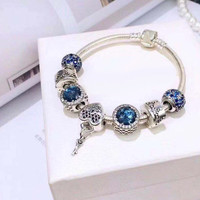 WinTion PAN Sterling Silver S925 Bracelet Blue String Jewelry Heart Pendant Jewelry Accessories Men and Women Style