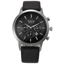 NORTH Sports Luxury Mens Leather Band Analog Quartz Watches Wrist Watch Colour:Black