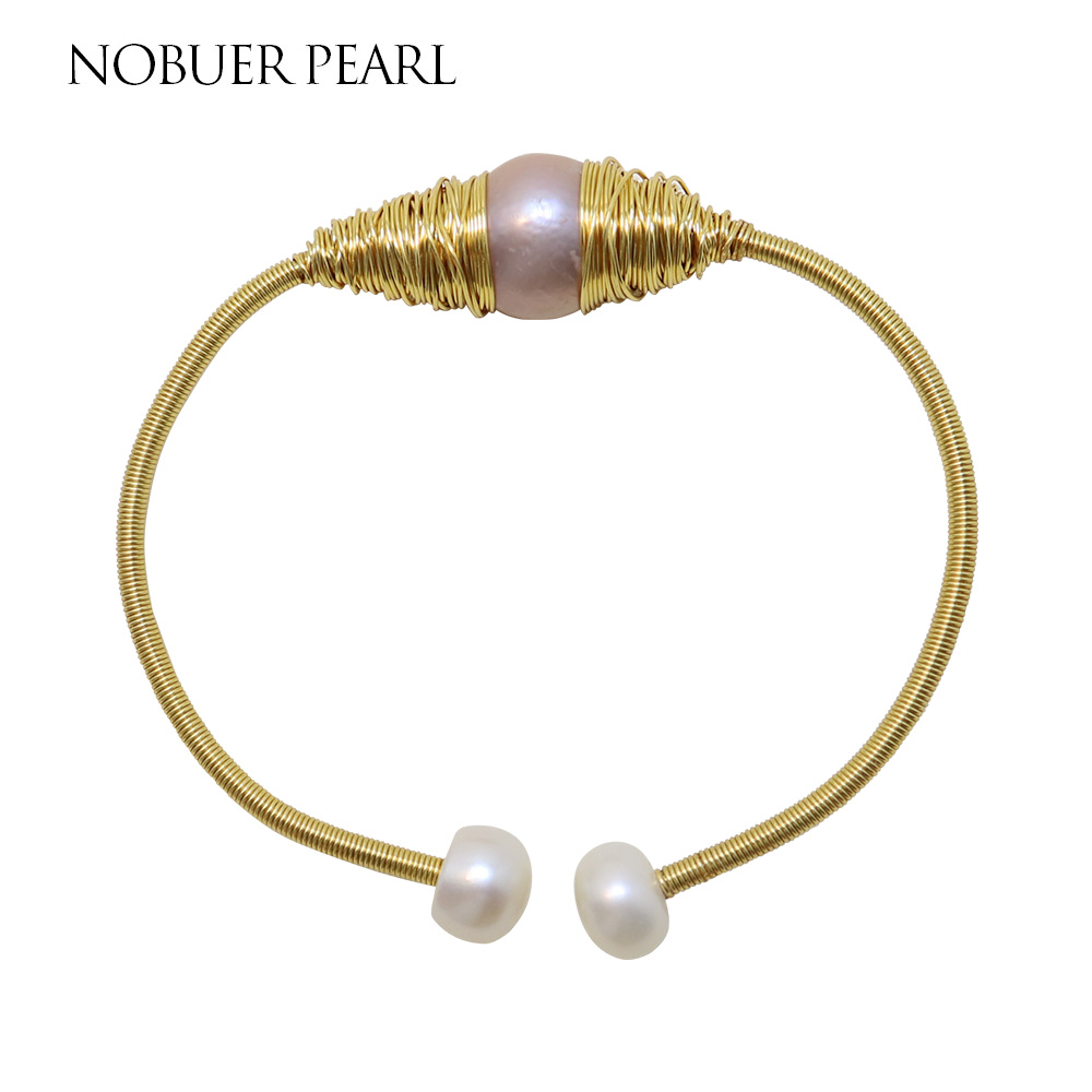 Nobuer 14KGF Winding Pearl Bangle For Women Handmake Pink Baroque & White Pearl Bracelets Trendy Bracelets For Women все цены