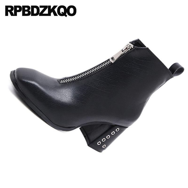 Botines Vendimia De Diseñador Tacón Alto Lujo Toe negro Botas Beige Zapatos Otoño Corto Square Metal 2018 Señoras Mujer Negro Chunky q0IxwE6f
