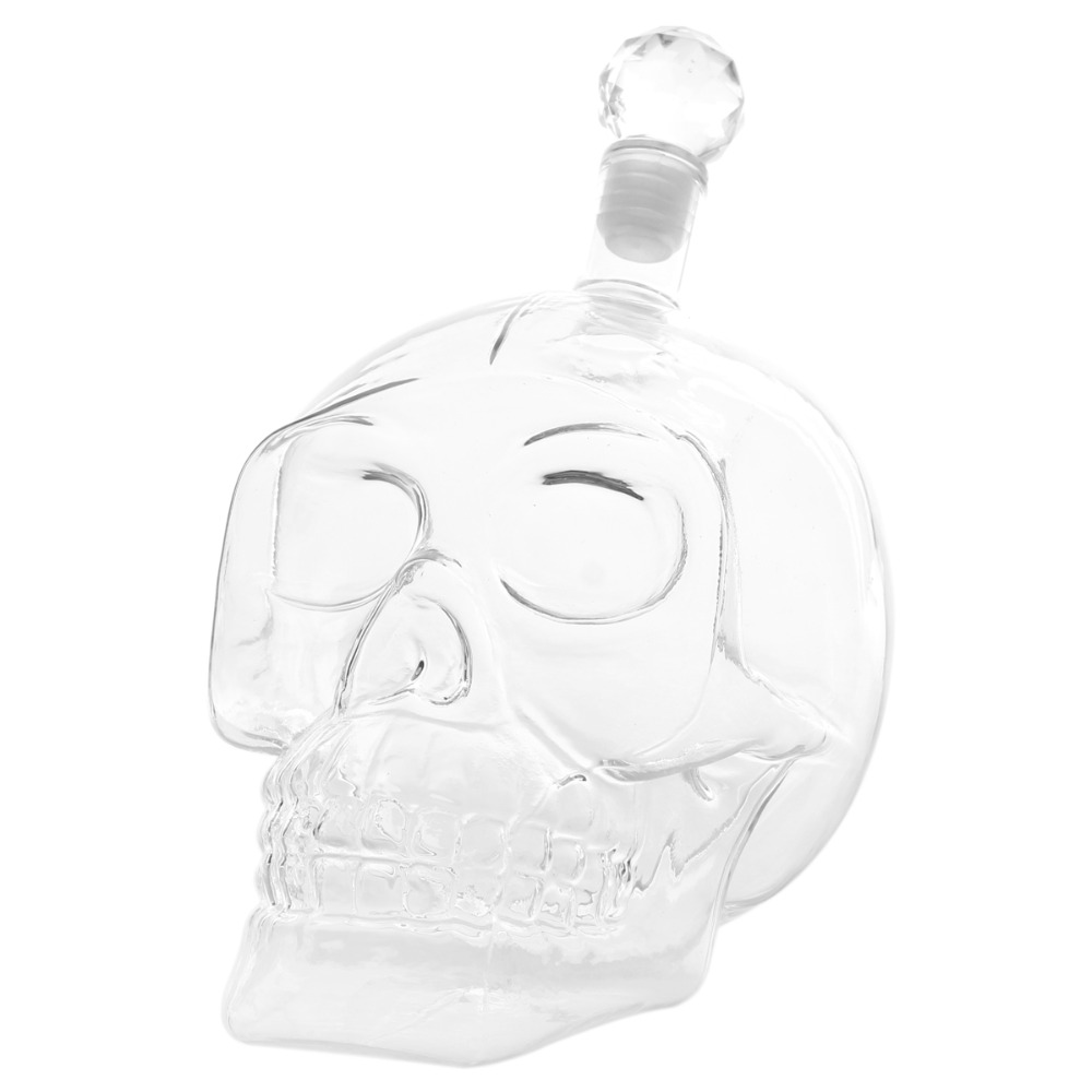 4 Sizes Glass Skull Head Bottle Gothic Crystal Wine Vodka Whiskey Water Bottle Skull Wine Decanter Barware Home Bar Tools in Decanters from Home Garden