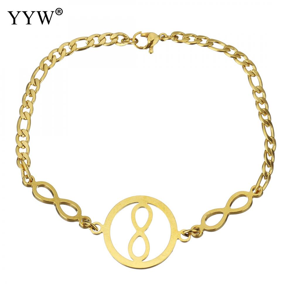 Stainless Steel Jewelry Bracelet Infinity gold color plated curb chain & for woman 27x20mm Sold Per Approx 8 Inch Strand