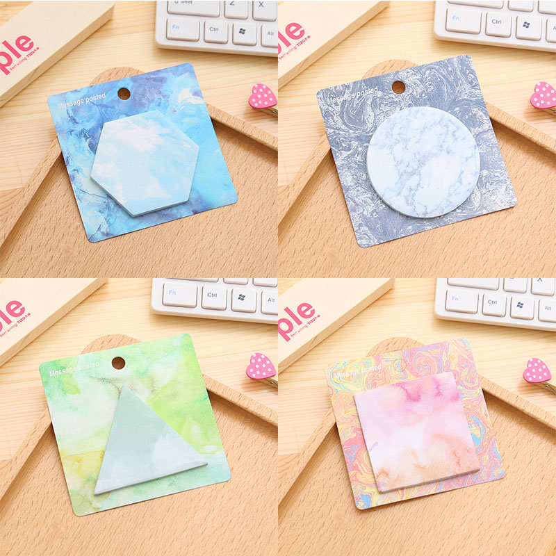 40 pcs/lot Creative watercolor Geometry Memo pads Kawaii sticky notes post it planner korean stationery office school supplies