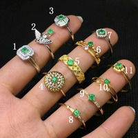 100% 925 sterling silver real Natural green Emerald Rings fine Jewelry gift trendy open wholesale new 3.5*3.5mm jcj3.53.502agml