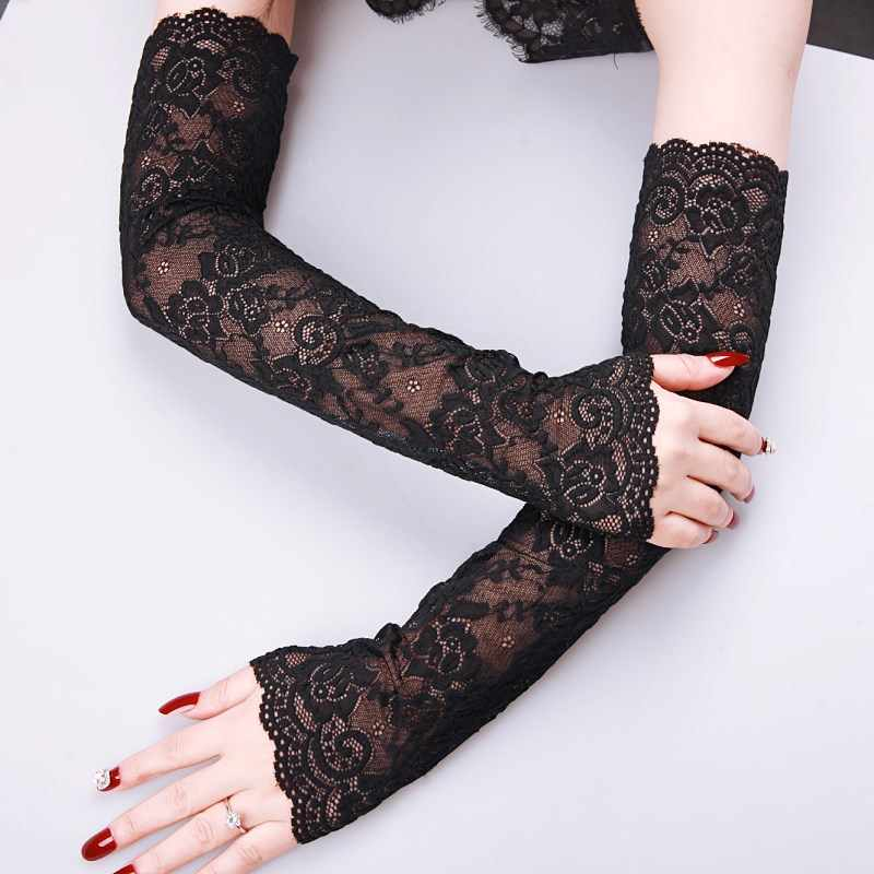 Rose Flower Pattern Sexy Summer Female Half Finger Sunscreen Long Lace Gloves Women Sun Protection Driving Breathable Gloves