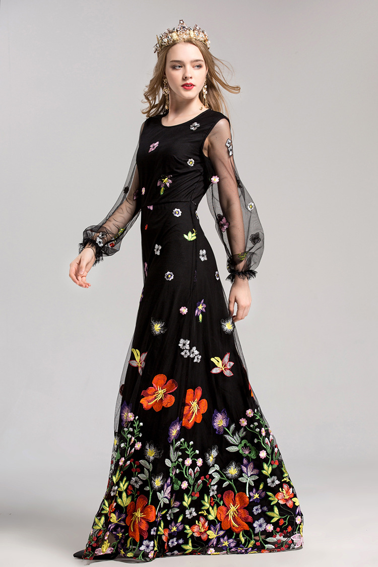 2f619526a83 2018 Women s Embroidery Party Dress Mesh Colorful Floral Handmade Flare  Sleeve Floor Length Black Formal Maxi Dress