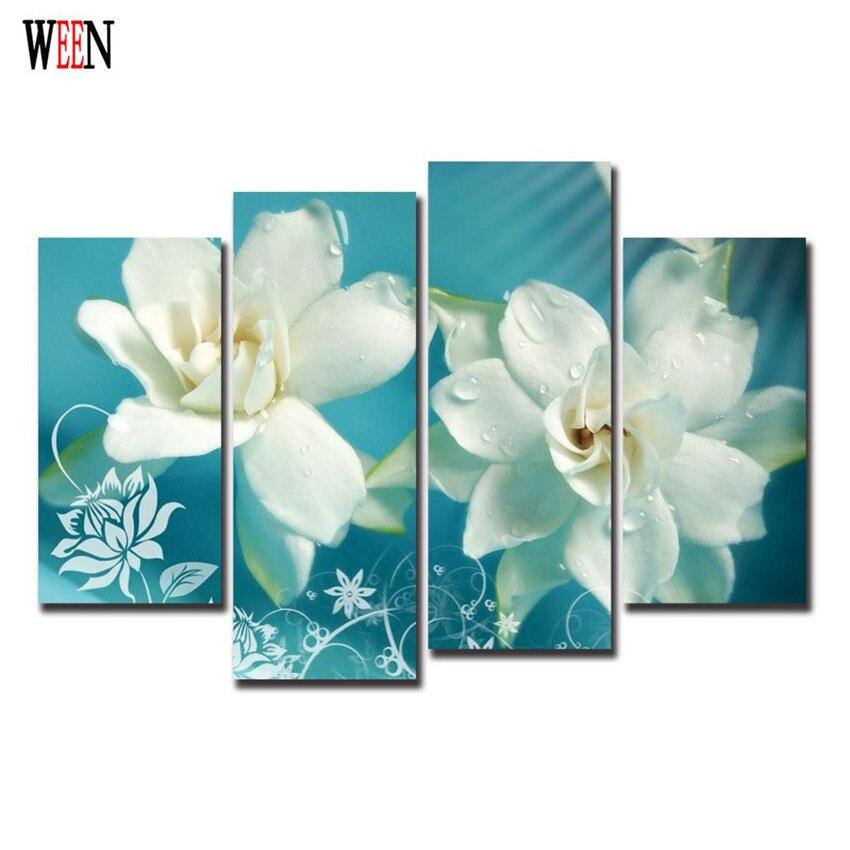 ღ ღElegante blanco flores Navidad lona para Decoración para el ...